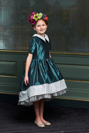 Ivy Teal & White Taffeta High-Low Girls Dress with Tulle Underskirt - LAZY FRANCIS - Shop in store at 406 Kings Road, Chelsea, London or shop online at www.lazyfrancis.com
