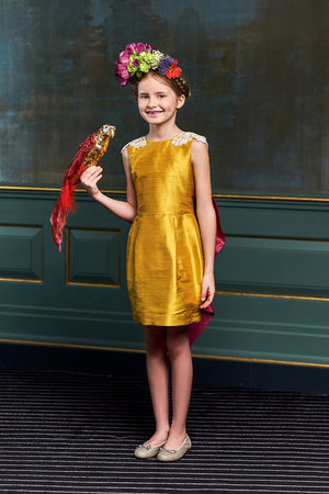 Oasis Butterfly Pencil Couture Girls Dress in Black and Red Raw Silk