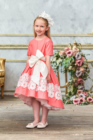 Coral Pink High-Low Girls Dress with White Lace and Bow - LAZY FRANCIS - Shop in store at 406 Kings Road, Chelsea, London or shop online at www.lazyfrancis.com