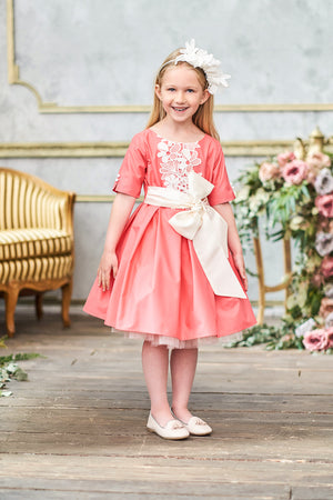 Coral Pink Full Girls Dress with French Lace and Bow - LAZY FRANCIS - Shop in store at 406 Kings Road, Chelsea, London or shop online at www.lazyfrancis.com
