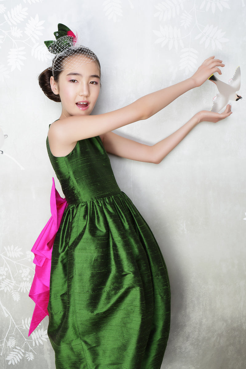 Melody Maxi Couture Girls Dress in Emerald Green & Fuchsia Silk
