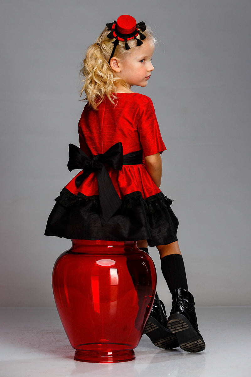 Red & Black Taffeta Girls Dress with Tassels and Black Tulle Underskirt - LAZY FRANCIS - Shop in store at 406 Kings Road, Chelsea, London or shop online at www.lazyfrancis.com
