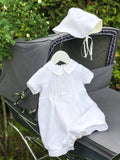 White Linen Boys Christening Shortie & Bonnet Set - LAZY FRANCIS - Shop in store at 406 Kings Road, Chelsea, London or shop online at www.lazyfrancis.com