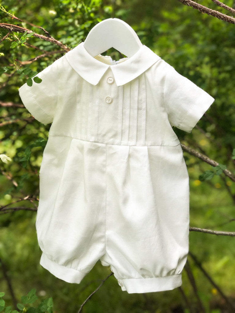 Off White Cotton Baby Boy Shortie & Bonnet Set - LAZY FRANCIS - Shop in store at 406 Kings Road, Chelsea, London or shop online at www.lazyfrancis.com