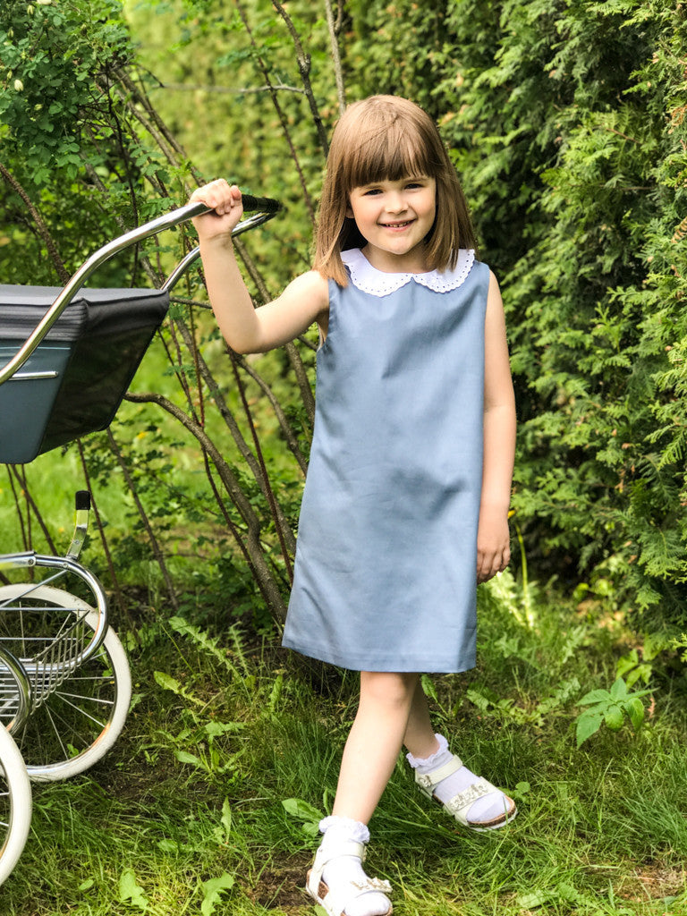 Blue Cotton Trapeze Girls Dress with White Collar - LAZY FRANCIS - Shop in store at 406 Kings Road, Chelsea, London or shop online at www.lazyfrancis.com