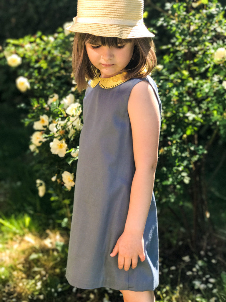 Blue Cotton Trapeze Girls Dress with Yellow Lace Collar - LAZY FRANCIS - Shop in store at 406 Kings Road, Chelsea, London or shop online at www.lazyfrancis.com