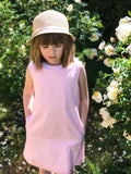 Light Pink Trapeze Cotton Girls Dress with White Collar - LAZY FRANCIS - Shop in store at 406 Kings Road, Chelsea, London or shop online at www.lazyfrancis.com