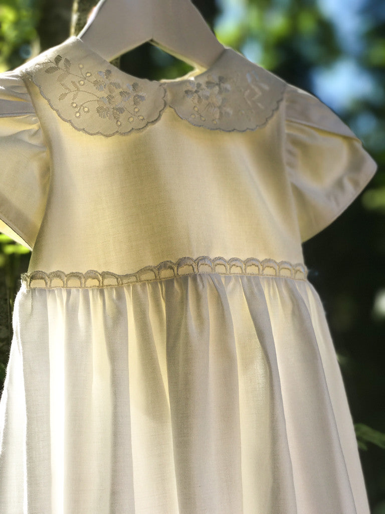 White Cotton Christening Baby Gown with Bonnet - LAZY FRANCIS - Shop in store at 406 Kings Road, Chelsea, London or shop online at www.lazyfrancis.com