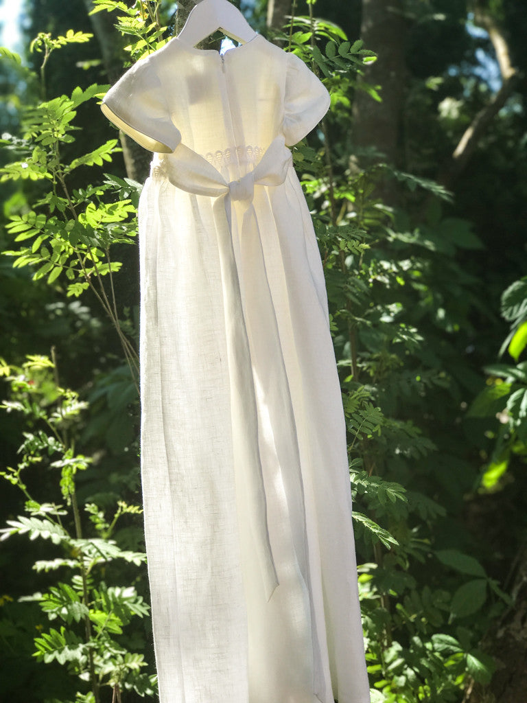Off White Linen Christening Baby Gown with Bonnet - LAZY FRANCIS - Shop in store at 406 Kings Road, Chelsea, London or shop online at www.lazyfrancis.com