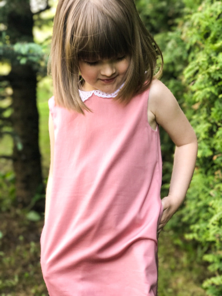 Dusty Rose Pink Cotton Trapeze Girls Dress with White Collar - Lazy Francis - LAZY FRANCIS - Shop in store at 406 Kings Road, Chelsea, London or shop online at www.lazyfrancis.com