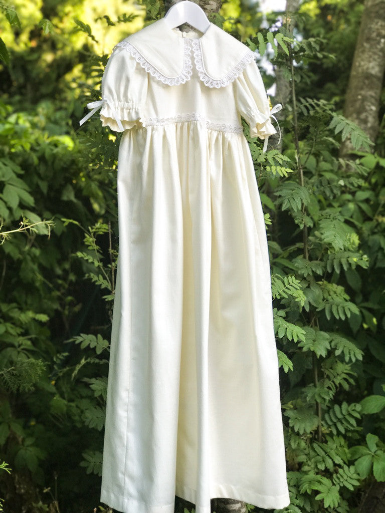 Cream Cotton Christening Baby Dress Gown with Bonnet - LAZY FRANCIS - Shop in store at 406 Kings Road, Chelsea, London or shop online at www.lazyfrancis.com