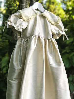 Cream Silk Christening Baby Gown with Bonnet - LAZY FRANCIS - Shop in store at 406 Kings Road, Chelsea, London or shop online at www.lazyfrancis.com