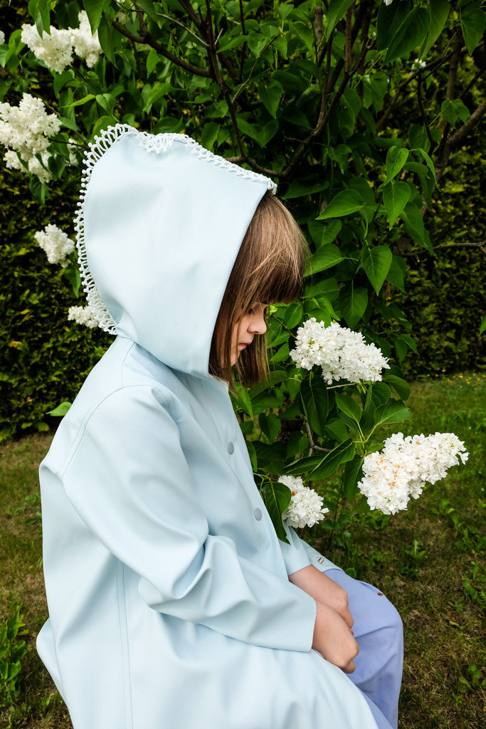 Light Blue Eco Leather Coat - LAZY FRANCIS - Shop in store at 406 Kings Road, Chelsea, London or shop online at www.lazyfrancis.com