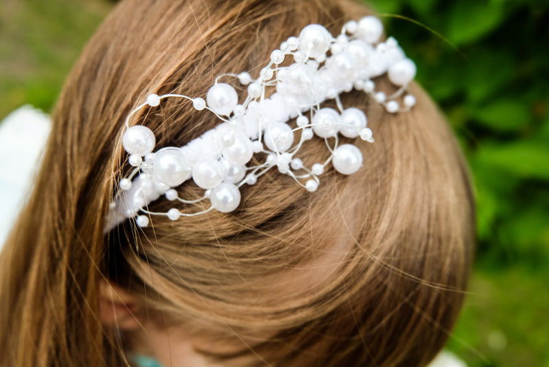 White Pearly Headband - LAZY FRANCIS - Shop in store at 406 Kings Road, Chelsea, London or shop online at www.lazyfrancis.com