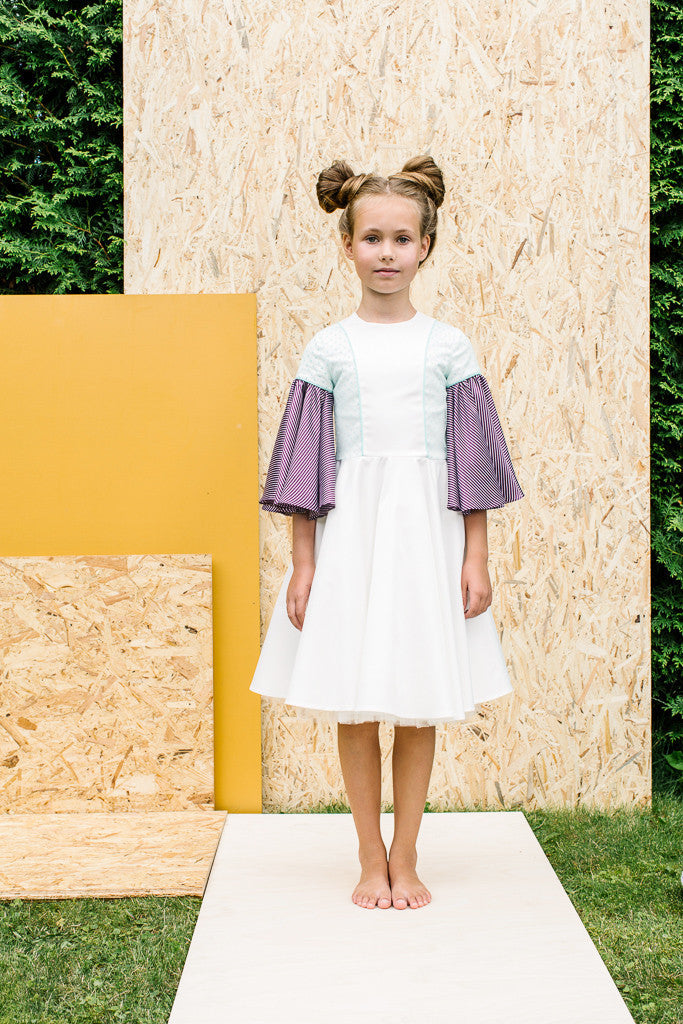 Exclusive Designer White Girls Dress with Flared Violet Sleeves by Lazy Francis Special Occasion, Flower Girl, Front Sale
