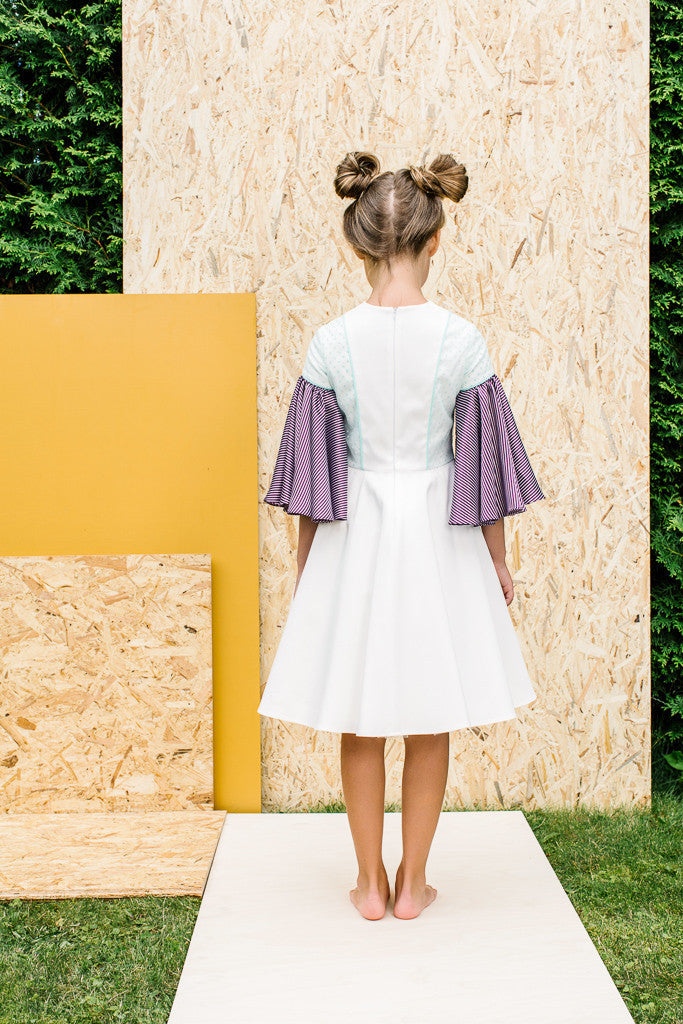 Exclusive Designer White Girls Dress with Flared Violet Sleeves by Lazy Francis Special Occasion, Flower Girl, Back sale