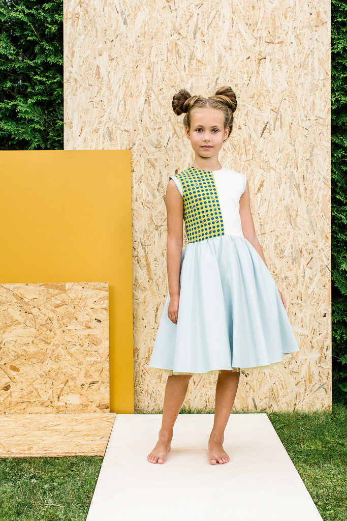 Limited Edition! Sleeveless Dress with Light Blue Eco Leather Skirt - LAZY FRANCIS - Shop in store at 406 Kings Road, Chelsea, London or shop online at www.lazyfrancis.com