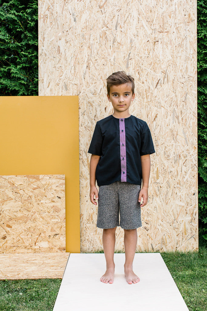 Designer Black Boys Summer Shirt with Violet Details by Lazy Francis Special Occasion Front sale