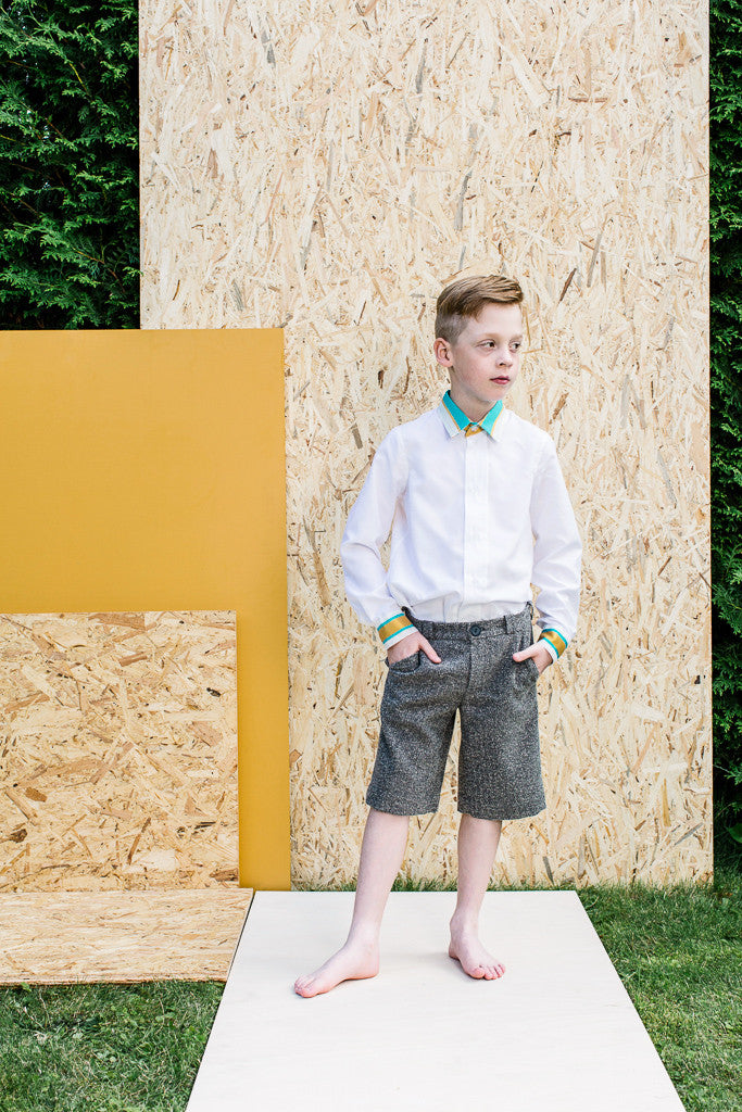 Designer Boys White Summer Shirt with Green Details by Lazy Francis Special Occasion Front sale
