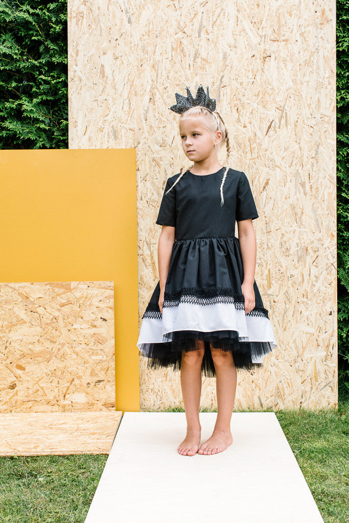 Black High-Low Girls Designer Dress with White Hem and Lace Detail by Lazy Francis Special Occasion Birthday Party Summer Sale Front