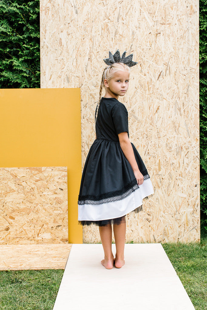 Black High-Low Girls Designer Dress with White Hem and Lace Detail by Lazy Francis Special Occasion Birthday Party Summer Sale Back