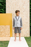 Designer Boys Suit Grey Neoprene Jacket and Grey Shorts Front sale
