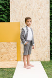 Designer Boys Suit Grey Neoprene Jacket and Grey Shorts Side sale