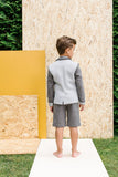 Designer Boys Suit Grey Neoprene Jacket and Grey Shorts Back sale