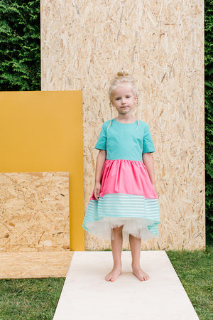 Turquoise and Coral Pink High-Low Dress - LAZY FRANCIS - Shop in store at 406 Kings Road, Chelsea, London or shop online at www.lazyfrancis.com