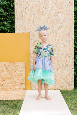 Violet & Turquoise High-Low Girls Designer Special Occasion Dress by Lazy Francis Front