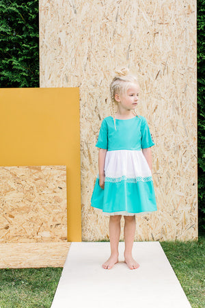 Turquoise Dress With White Lace and Bow - LAZY FRANCIS - Shop in store at 406 Kings Road, Chelsea, London or shop online at www.lazyfrancis.com