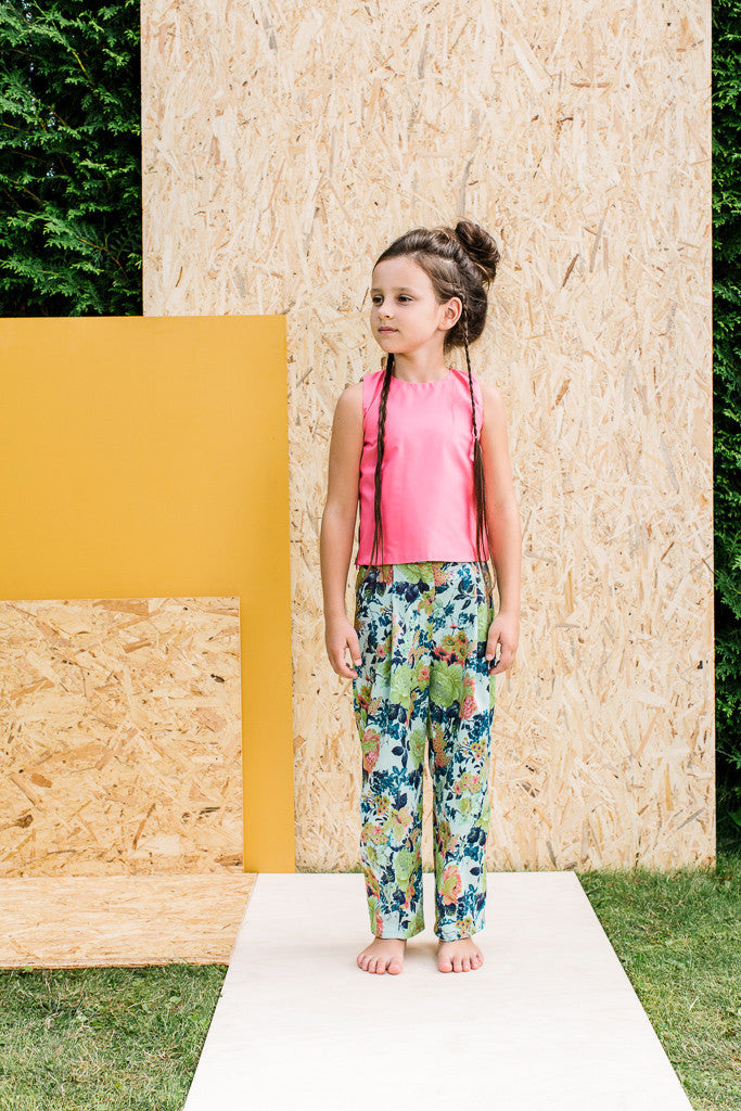 Designer Girls Summer Trousers with Flower Motif by Lazy Francis Front sale