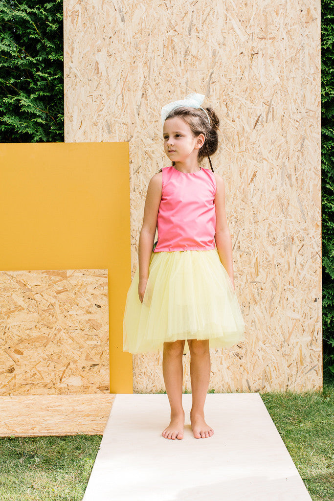 Designer Yellow Girls High-Low Tulle Tutu Skirt by Lazy Francis Summer Party, Special Occasion, Front sale