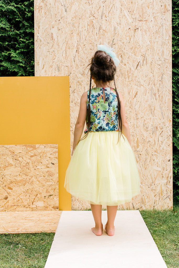 Designer Yellow Girls High-Low Tulle Tutu Skirt by Lazy Francis Summer Party, Special Occasion, Back sale