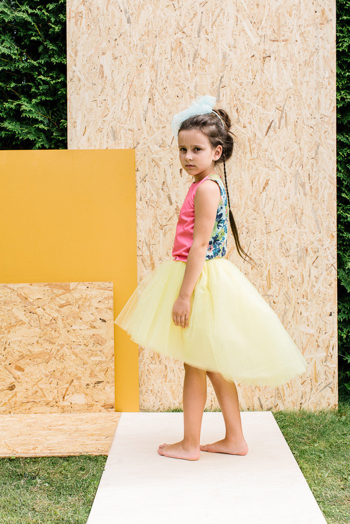 Designer Yellow Girls High-Low Tulle Tutu Skirt by Lazy Francis Summer Party, Special Occasion, Side sale