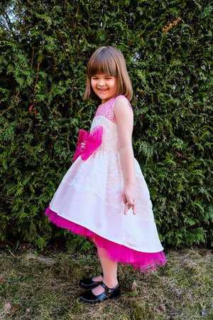 White Flower Motif Jacquard High-Low Girls Designer Special Occasion Dress with Fuchsia Lace Bow by Lazy Francis Birthday Flower Girl Prom Side Sale