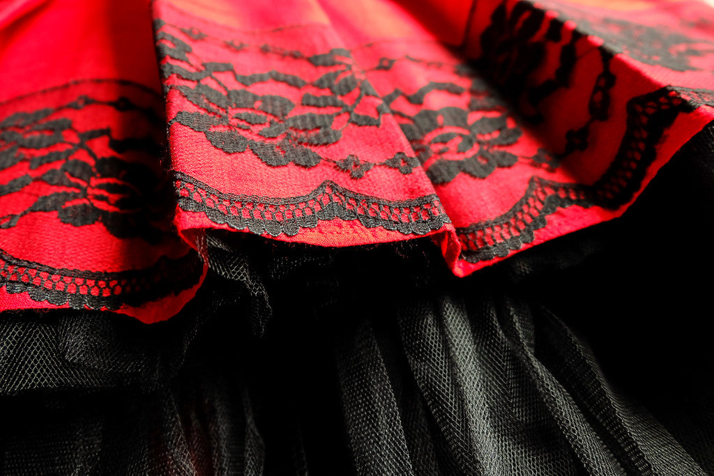 Exclusive Designer Red Raw Silk Girls High-Low Dress with Black Lace Party Birthday Special Occasion
