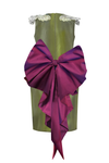 Oasis Butterfly Olive Taffeta Couture Girls Pencil Dress with Bordo Detachable Bow
