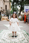 Limited Edition Santorini Flower Jacquard Girls Dress with Lush Bow - LAZY FRANCIS - Shop in store at 406 Kings Road, Chelsea, London or shop online at www.lazyfrancis.com