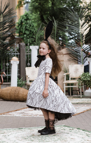 Paris Light Viscose High-Low Girls Dress With White Tulle Petticoat - LAZY FRANCIS - Shop in store at 406 Kings Road, Chelsea, London or shop online at www.lazyfrancis.com