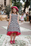 LIMITED EDITION! Stylish Black Tokyo Viscose High-Low Girls Dress With Fuchsia Tulle Petticoat - LAZY FRANCIS - Shop in store at 406 Kings Road, Chelsea, London or shop online at www.lazyfrancis.com