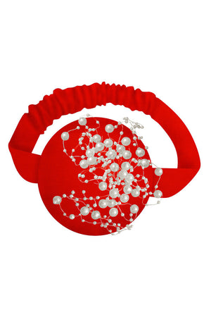 Red Velvet Pearly Headband - LAZY FRANCIS - Shop in store at 406 Kings Road, Chelsea, London or shop online at www.lazyfrancis.com