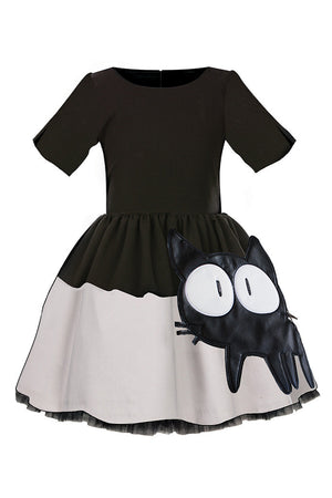 Black and Grey Full Girls Dress with Cat Appliqué - LAZY FRANCIS - Shop in store at 406 Kings Road, Chelsea, London or shop online at www.lazyfrancis.com