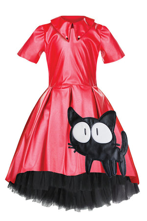 Red Eco-leather High-Low Dress with Cat Appliqué