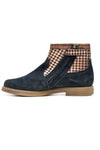 Navy & Gold Checkered Suede Girls Ankle Boots - Pom D'Api - LAZY FRANCIS - Shop in store at 406 Kings Road, Chelsea, London or shop online at www.lazyfrancis.com