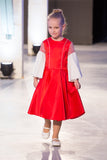 Red Satin Flared Girls Dress with White Flared Sleeves