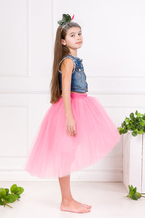 Félicie Black High-Low Girls Tutu Skirt - LAZY FRANCIS - Shop in store at 406 Kings Road, Chelsea, London or shop online at www.lazyfrancis.com
