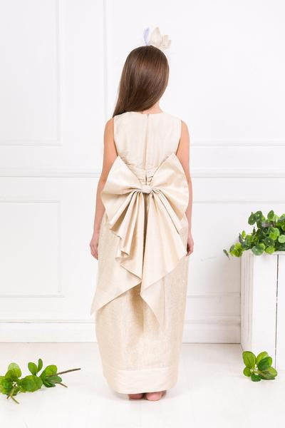 Cream Raw Silk Butterfly Maxi Dress lazy francis couture