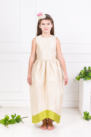 Light Cream Raw Silk Scheherazade's Maxi Couture Girls Dress - LAZY FRANCIS - Shop in store at 406 Kings Road, Chelsea, London or shop online at www.lazyfrancis.com