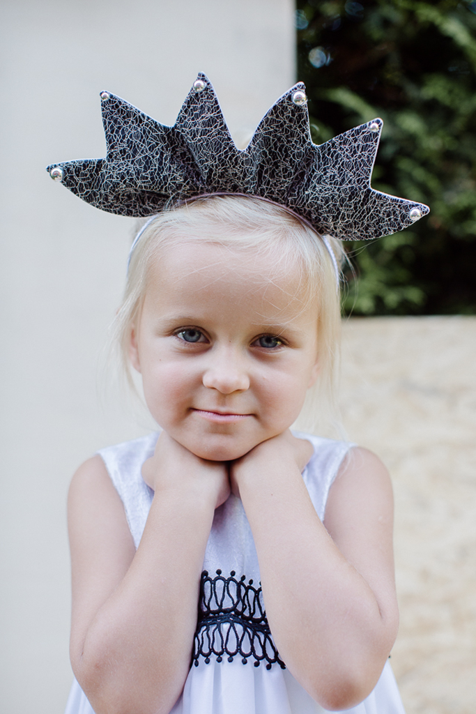 lazy francis hand made unique summer Reversible Black & White Crown Headband with Lace Layer